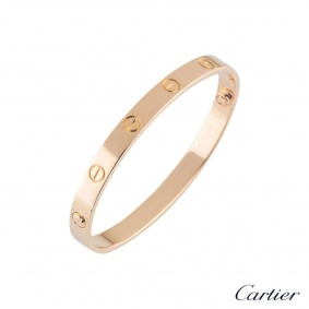 Cartier Rose Gold Plain Love Bracelet Size 18 B6035618